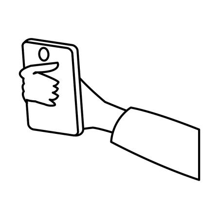 using smart phone: hand holding smartphone technology digital line vector illustration Illustration