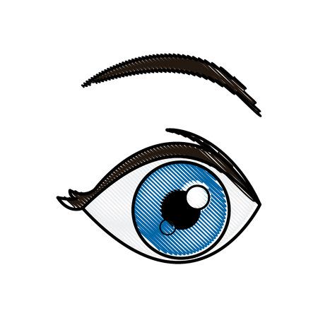 drawing blue eye vision optical design vector illustration