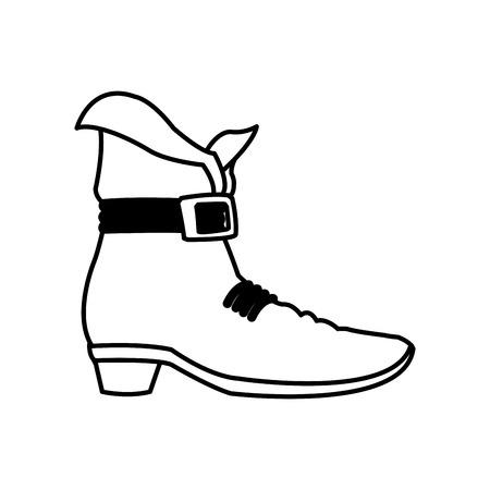 lucky clover: leprechaun boots. happy st. patricks day celebration line vector illustration