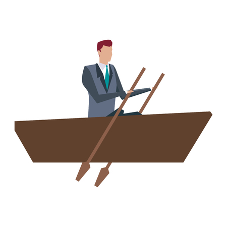 business man paddling work manager growth vector illustration