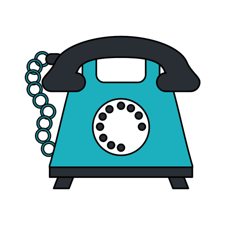color image cartoon silhouette retro telephone with cord vector illustration Illustration