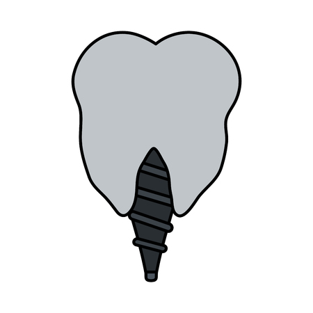 color image cartoon dental implant icon vector illustration