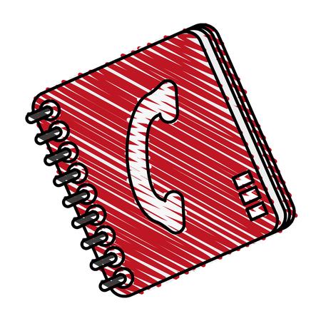 color crayon stripe cartoon phone book with spirals vector illustration Ilustracja