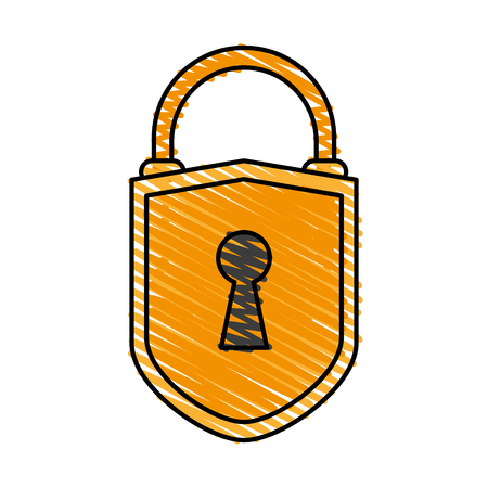 color crayon stripe cartoon padlock with shield body and shackle vector illustration Illustration