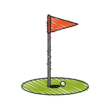 color crayon stripe cartoon golf flag with hole and ball vector illustration Illustration