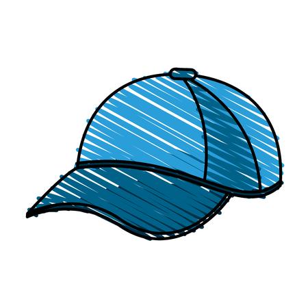 color crayon stripe cartoon blue sport cap headwear vector illustration