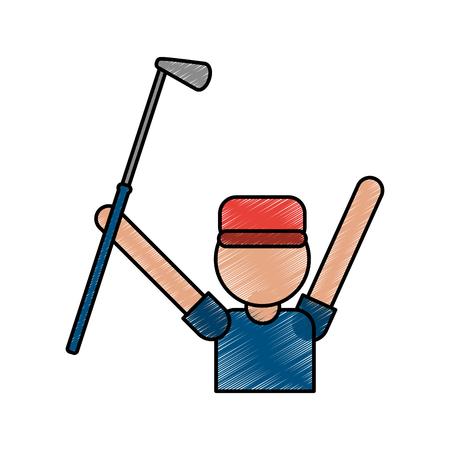 color pencil cartoon faceless half body golfer man with golf club vector illustration