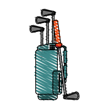 Color Crayon Stripe Cartoon Bag With Golf Clubs Vector Illustration on cartoon hat, cartoon men, cartoon bowling bag, cartoon camera, cartoon star, cartoon golfer, cartoon tennis bag, cartoon gloves, cartoon nut sack, cartoon wine bag, cartoon pool bag, cartoon butterfly, cartoon putter, cartoon school bag, cartoon beach bag, cartoon clubs, cartoon mother, cartoon traveling bag, cartoon baseball bag, cartoon shorts,