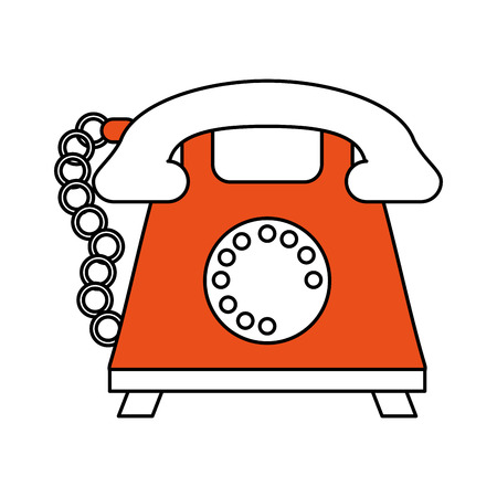 color silhouette cartoon retro telephone with cord and orange body vector illustration Illustration