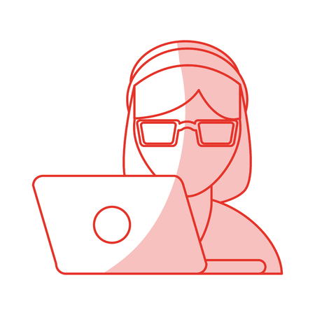 call centre girl: red shading silhouette cartoon half body woman customer service with laptop and headphones vector illustration