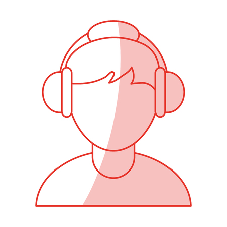 customer service phone: red shading silhouette cartoon faceless half body guy with headphones vector illustration