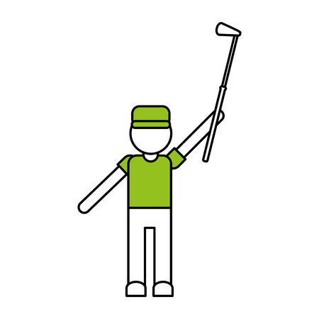color silhouette cartoon faceless full body golfer man with golf club vector illustration Illustration