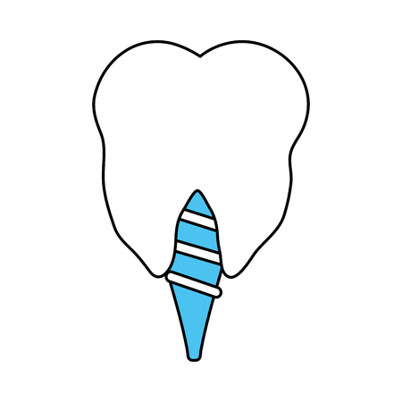 color silhouette cartoon dental implant icon vector illustration Illustration