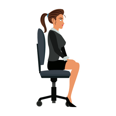 pretty woman sitting chair office work vector illustration