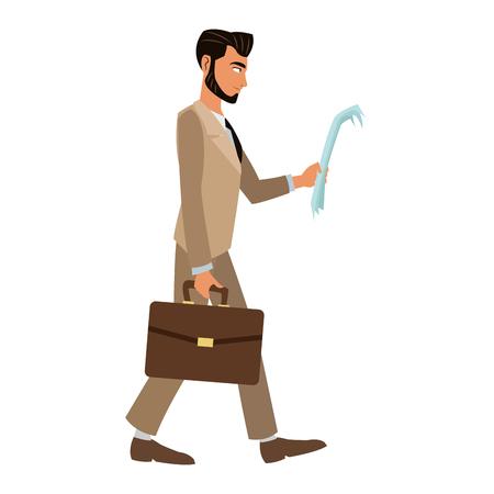 man walking newspaper portfolio elegant vector illustration