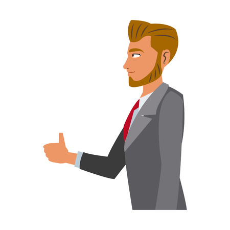clothe: character business man with suit vector illustration