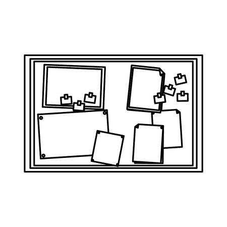 notas de papel sobre la ilustración de vector de elemento de oficina de tablero de corcho Ilustración de vector