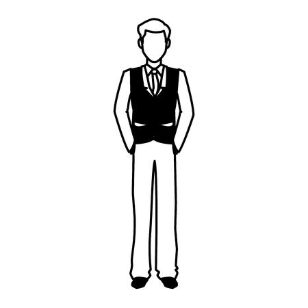 ceo office: businessman portrait executive office people outline vector illustration