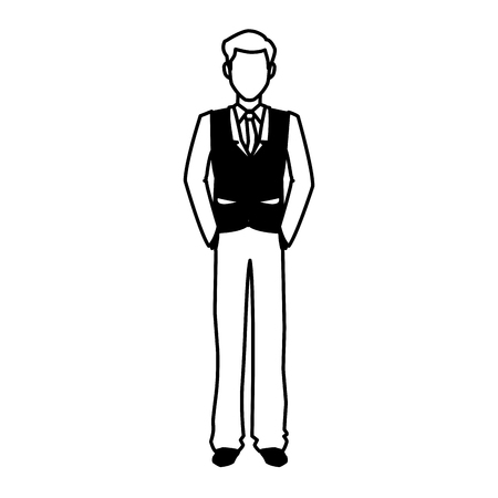 businessman portrait executive office people outline vector illustration