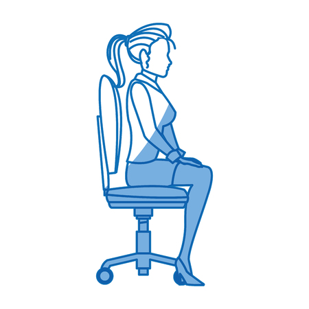 business woman sitting office chair working vector illustration