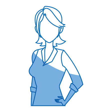 features: portrait young girl business avatar design vector illustration Illustration