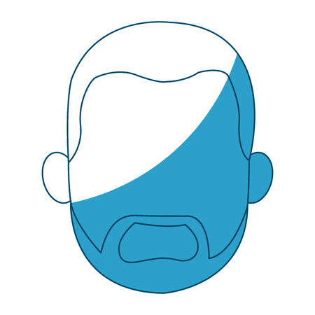 hand on chin: cartoon head young man faceless silhouette vector illustration