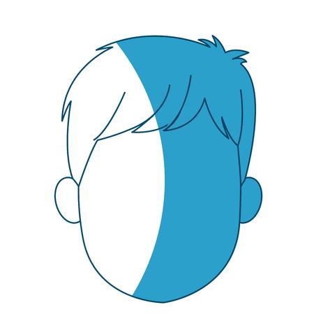 cartoon head young man faceless silhouette vector illustration