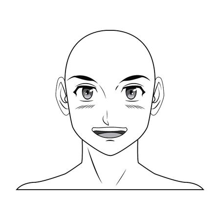 若い男。アニメの少年キャラ日本アウトライン ベクトル イラスト