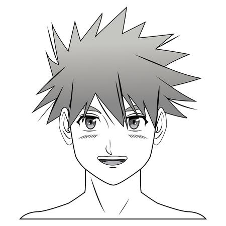 anime young: young guy. anime boy character manga vector illustration