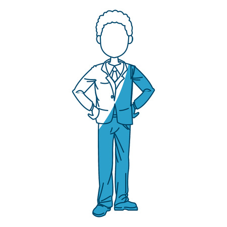 sophisticate: young business man standing with his hands vector illustration