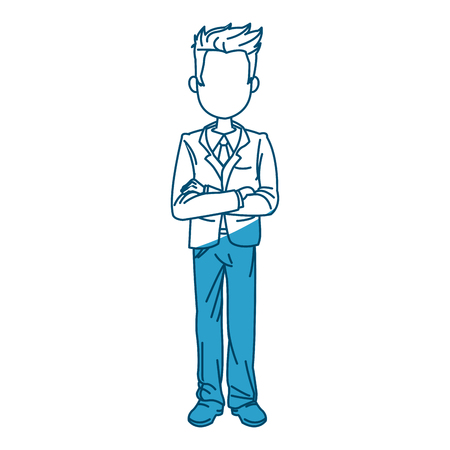 young business man standing with his hands cross vector illustration
