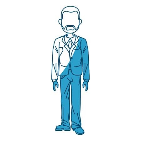 hands pocket: beard business man standing with suit vector illustration Illustration