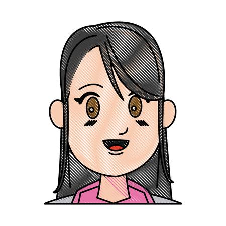 drawing girl young smiling close eyes vector illustration