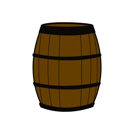 wooden barrel for wine with steel ring vector illustration