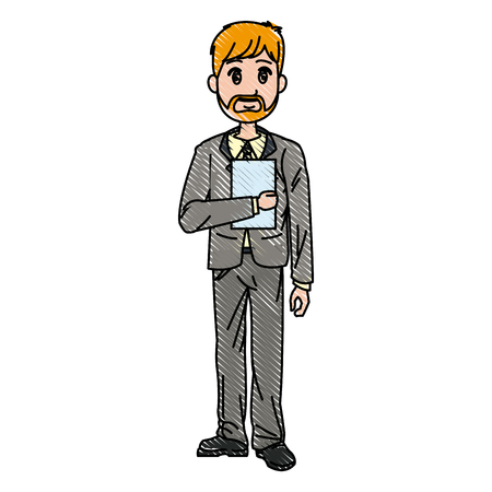 young business man standing with his hands vector illustration