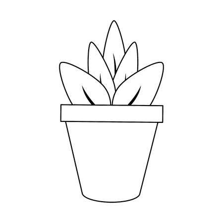 plant in pot icon image vector illustration design single black line