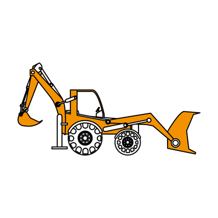 earth mover: excavator or backhoe construction heavy machinery icon image vector illustration design partially colored