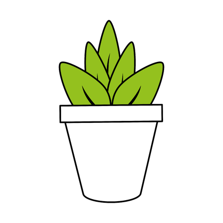 plant in pot icon image vector illustration design partially colored