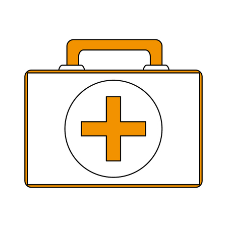 first aid kit healthcare icon image vector illustration design partially colored