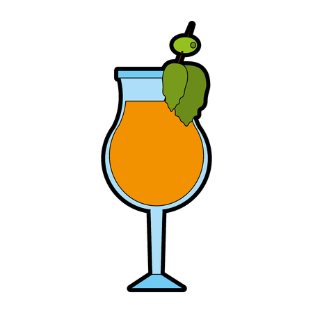 ice tea: Cocktail in garnished glass icon image vector illustration design