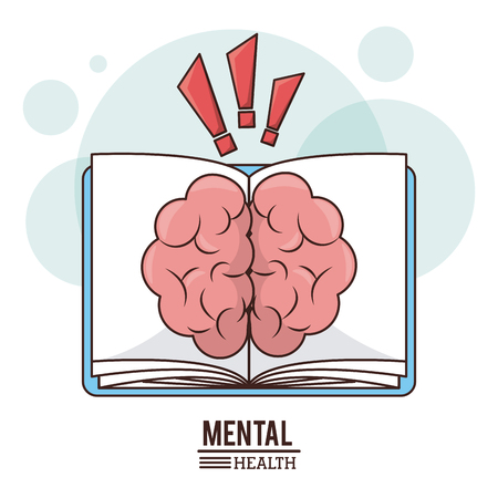 Mental health. brain book knowledge development image vector illustration Illustration