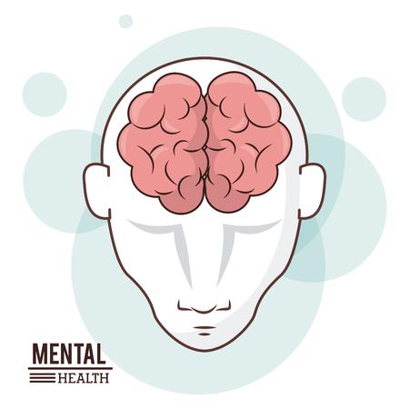 Mental health, human head brain front intelligence design vector illustration Illustration