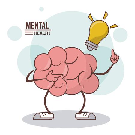 Mental health, cartoon brain bulb illumination concept vector illustration