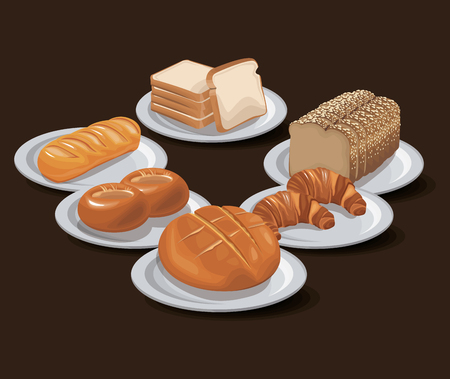 Bread bakery product food organic. fresh bread concept design vector illustration Illustration