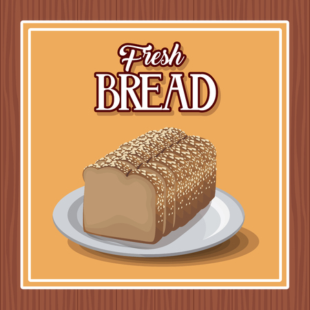 Fresh bread and wheat whole cereal nutrition vector illustration