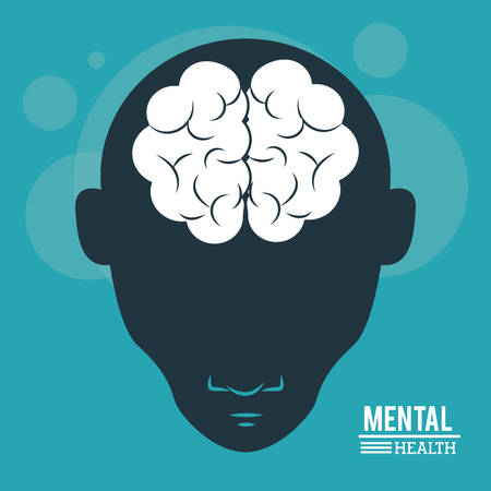 mental health, head human, silhouette face and brain in flat style. vector illustration