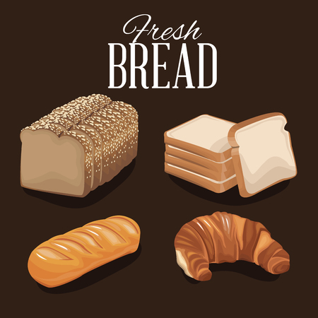 fresh bread and wheat whole cereal nutrition vector illustration 向量圖像