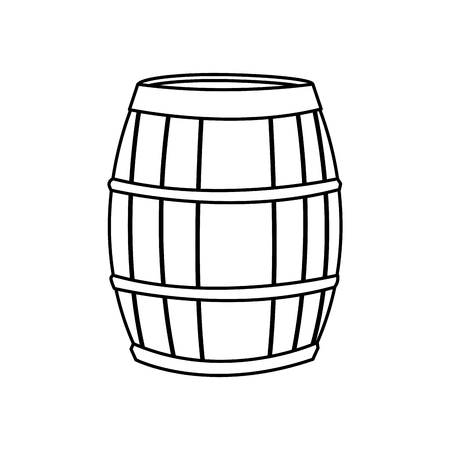 cartoon wood bucket: wine barrel wooden conatiner line image vector illustration