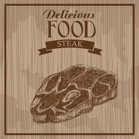 delicious food. steak hand drawn poster vintage vector illustration.
