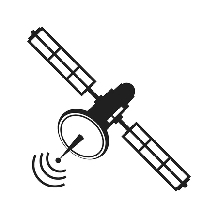 Communications satellite signal transmission technology vector illustration Stock Illustratie